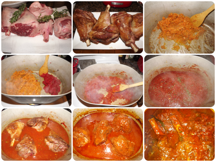 Recipe steps for Lamb Shanks