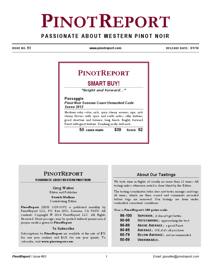 Passaggio 2012 UNMARKED Pinot Noir Review